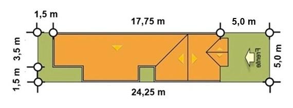 Plano de casa de 5 metros x 17 metros de largo