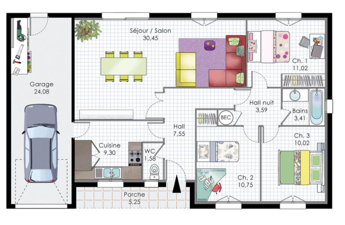 Plano rectangular para casa de 3 dormitorios con cochera