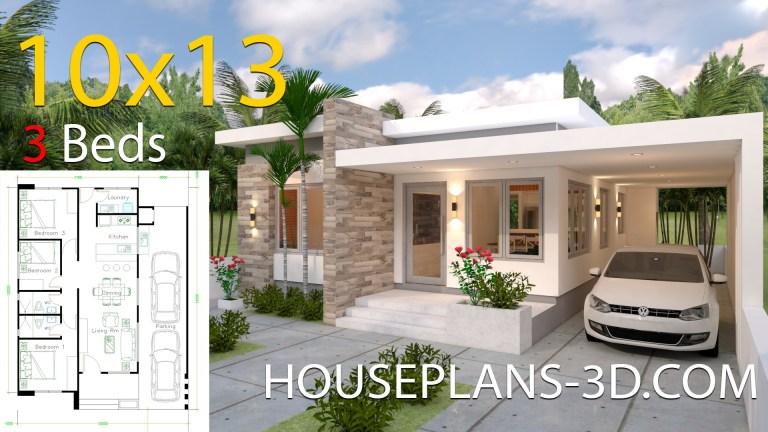 Planos de casa de 10x13 con 3 habitaciones