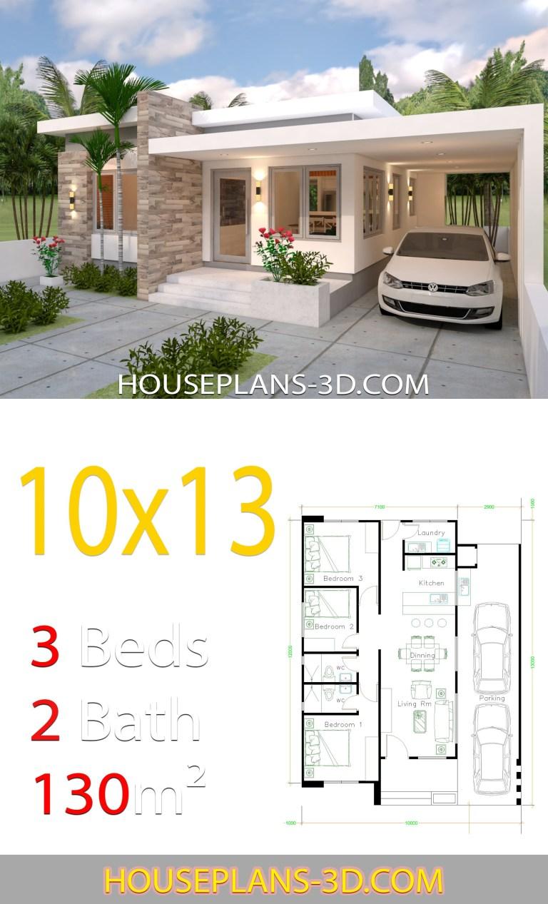 Planos de casa de 10x13 con 3 habitaciones fachada
