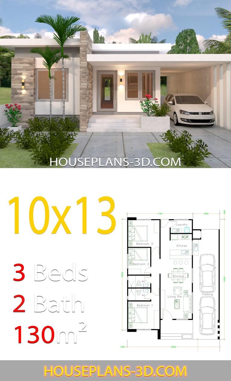 Planos de casa de 10x13 con 3 habitaciones frente