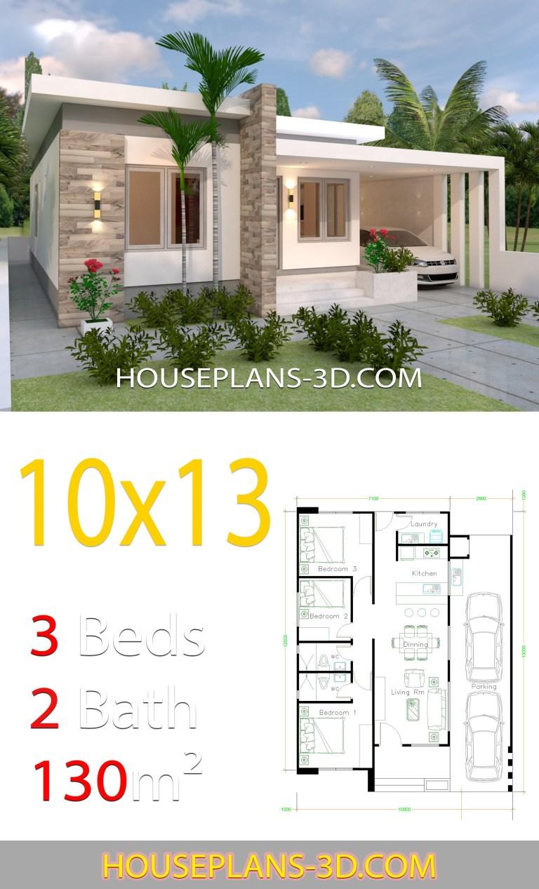Planos de casa de 10x13 con 3 habitaciones jardín