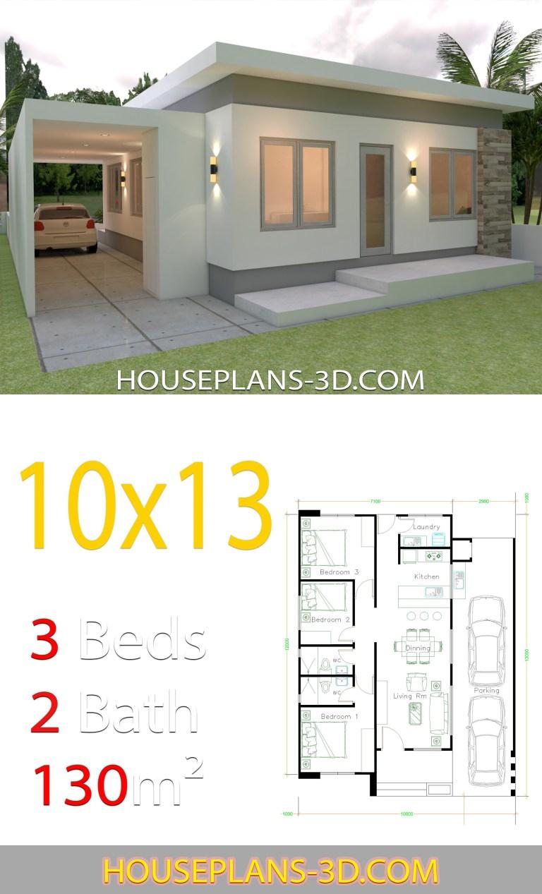 Planos de casa de 10x13 con 3 habitaciones sencilla