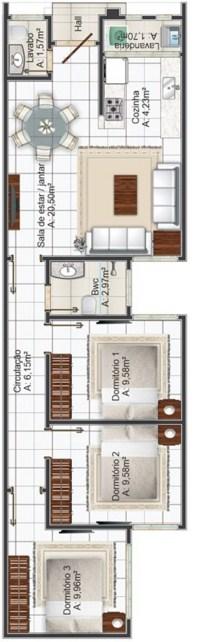 Planos de casa de 5 metros de frente con áreas