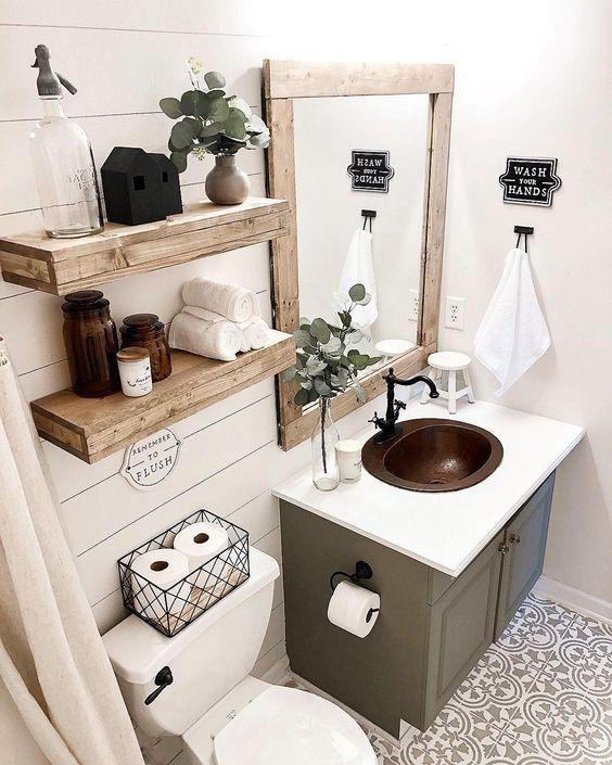 Baños con detalles en madera con mucho estilo
