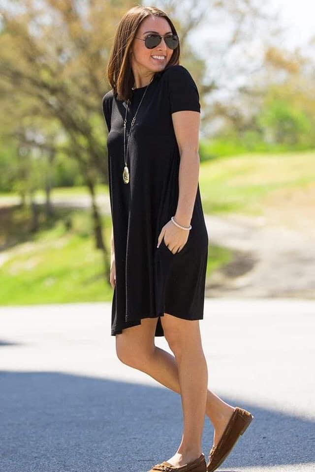 Blusón suelto como vestido en color negro