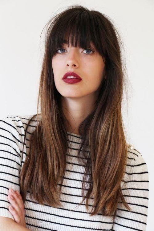 Cortes de cabello para afinar tu rostro - recto con flequillo