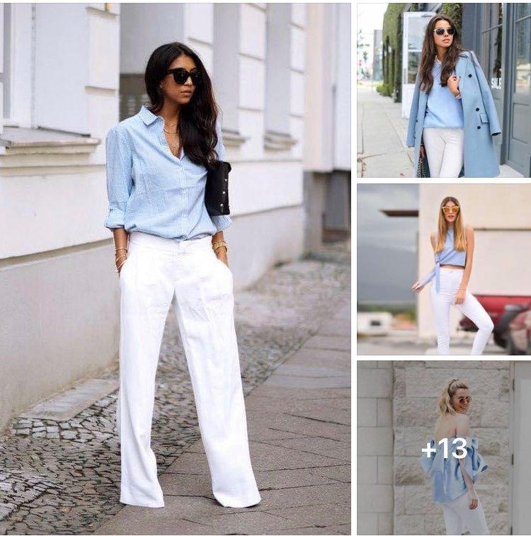 Outfits con combinación blanco y azul - si eres una mujer de 40 años o más