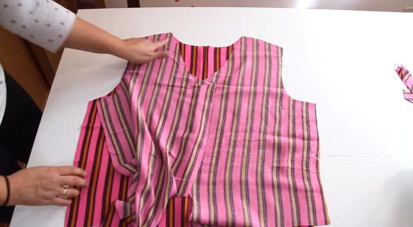 Patrón de blusa atada a la cintura delanteros y espalda