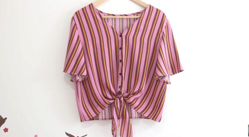 Patrón de blusa atada a la cintura resultado final