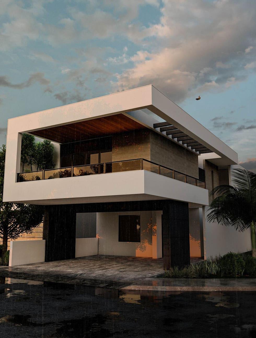 Proyecto para una residencia de estilo moderno contemporáneo fachada