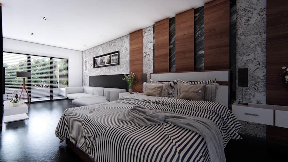 Proyecto para una residencia de estilo moderno contemporáneo recámara principal
