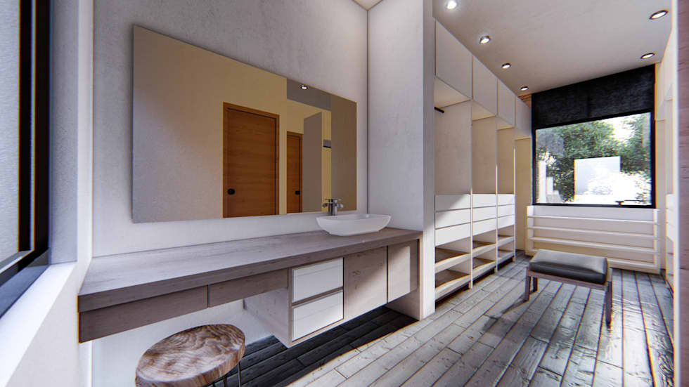 Proyecto para una residencia de estilo moderno contemporáneo walking closet