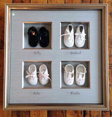 Ideas para guardar los zapatos de un bebé con marco