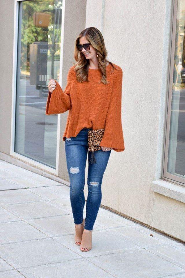 Maxi suéter con color del otoño para mujeres