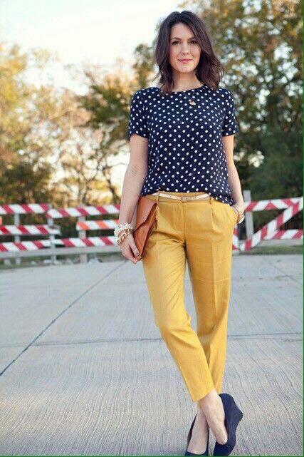 Outfits con pantalones de vestir color mostaza