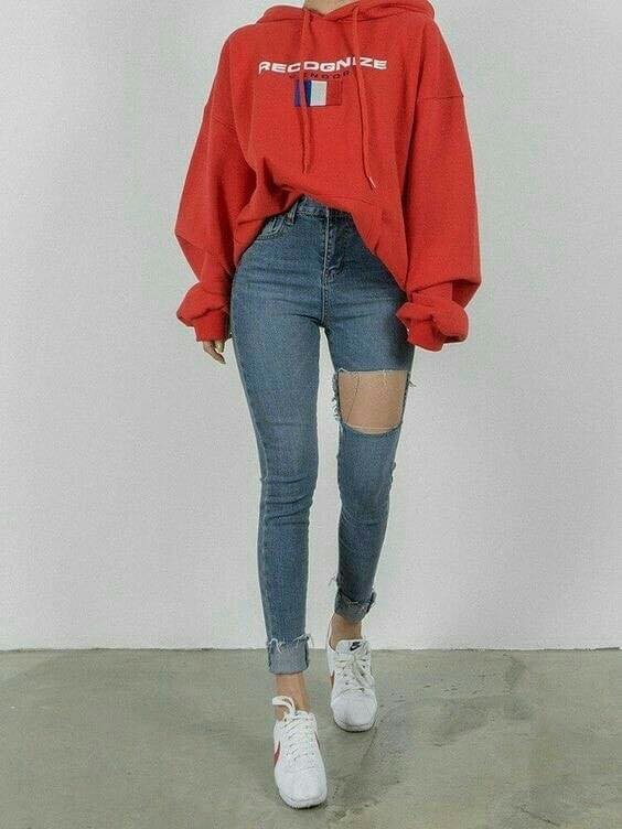 Pantalones a la cintura con maxi suéter