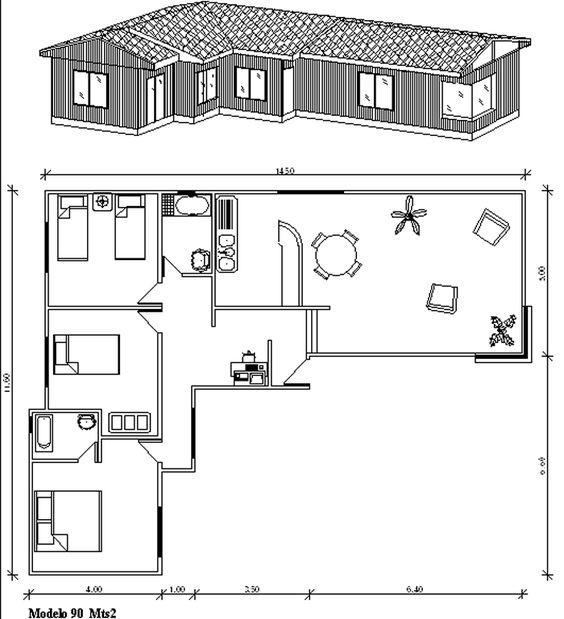 Áreas para plano de casa en forma de L