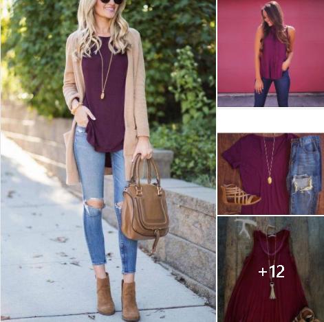Color vino para outfit de mujeres de 40 años o más