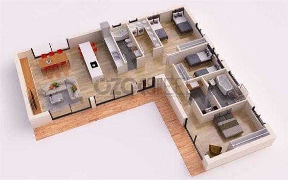 Departamento con 3 habitaciones para planos de casas moderna en L