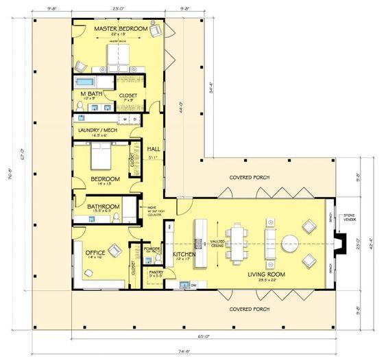 Espacios amplios para casa en forma de L