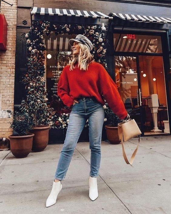 Gorro y maxi suéter para temporada de frío