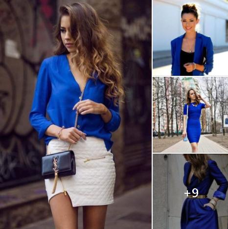 Looks con color azul para mujeres maduras de 40 años o más
