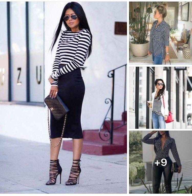 Outfits con blusas de líneas en blanco y negro