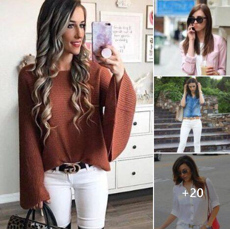 Outfits con pantalones blancos para mujeres maduras