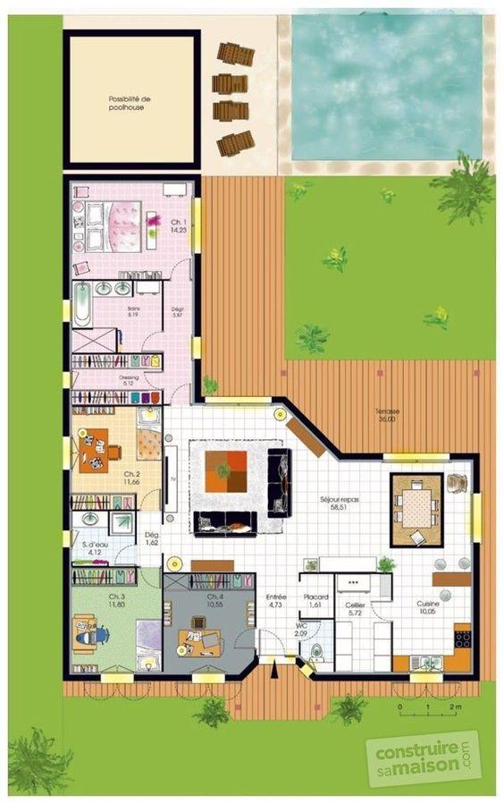 Plano de casa moderna en L con alberca