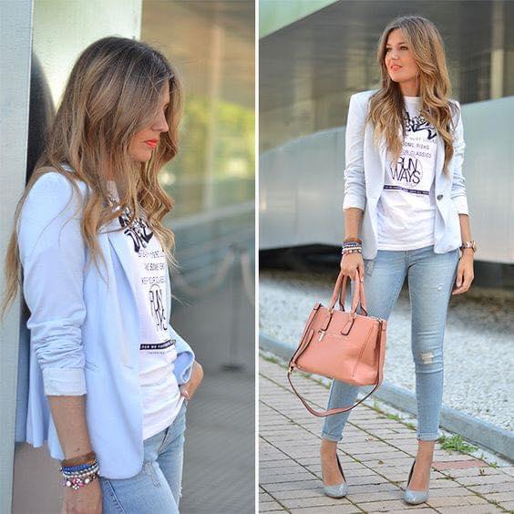 Outfits con blazer azul cielo en outfits de mujeres maduras
