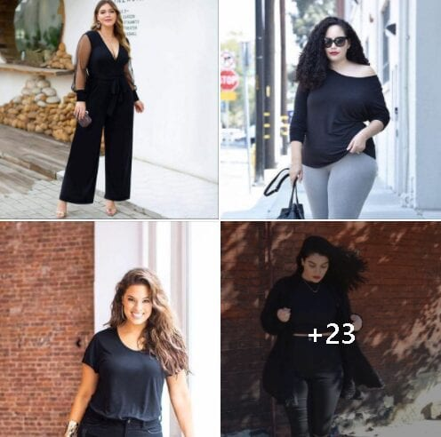 Outfits en negro para chicas plus size