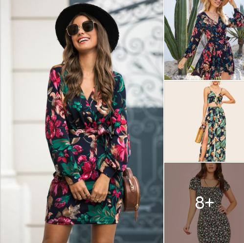 Vestidos con estampado de flores en tendencia para mujeres maduras