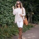 Outfits con jeans blancos para otoño - invierno
