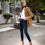 Ideas de outfits con blazers marrón y tacones