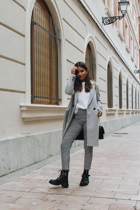 Ideas para usar pantalón de cuadros en invierno