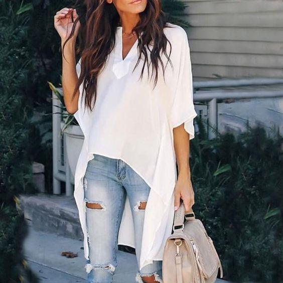 Looks con blusas largas para cuerpo tipo pera
