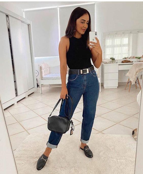 Ideas para combinar blusas negras con jeans