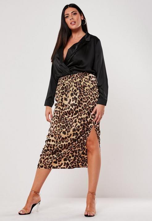 Faldas de satin para chicas plus size