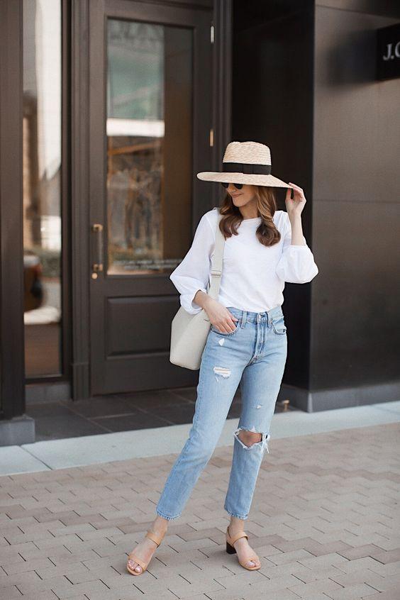 Ideas de looks con jeans y blusas blancas para gorditas