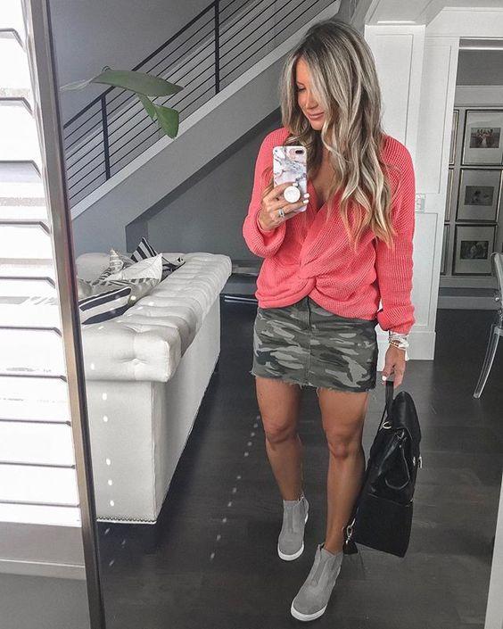 Ideas de outfits con faldas camo