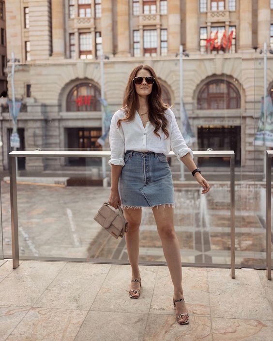 Ideas para usar camisa blanca con faldas