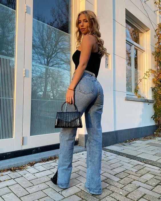Jeans de mezclilla anchos para mujeres maduras