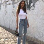 Jeans rectos rotos de moda