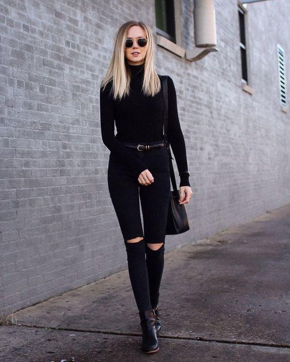 Looks con jeans negros rasgados