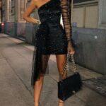 Looks con vestidos de fiesta negros con brillos