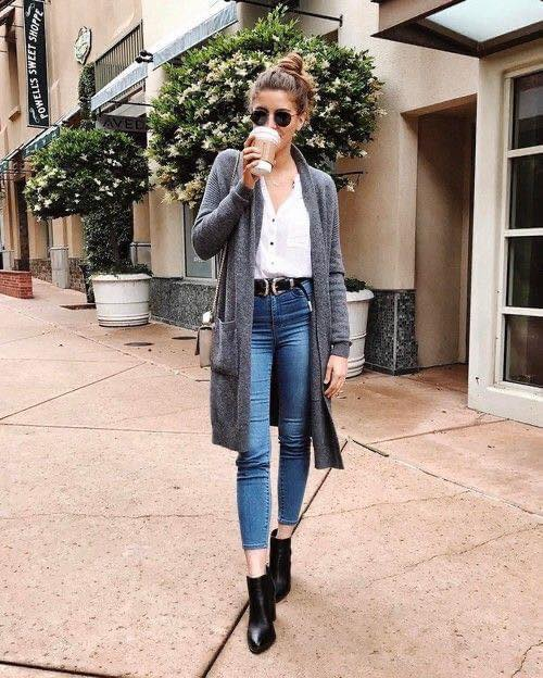 Outfits con cardigan gris