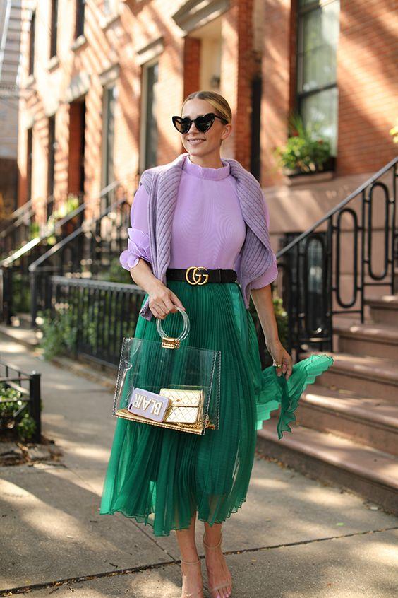 Outfits con faldas color verde primavera - verano