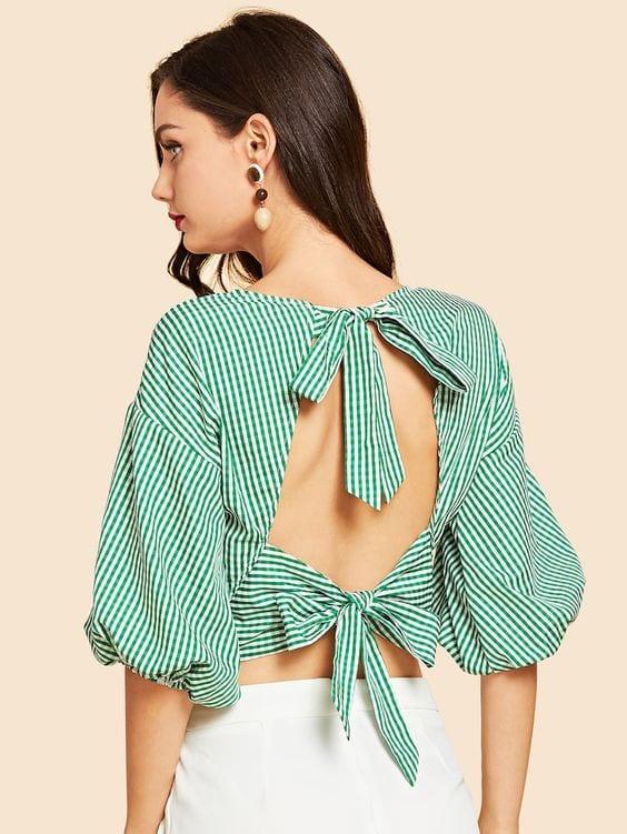 Blusas con escote en la espalda para mujeres maduras