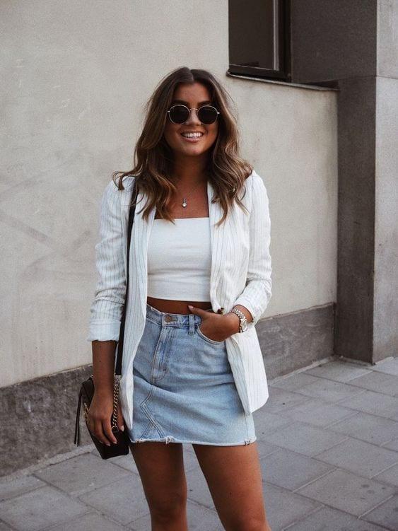 Faldas de mezclilla con blazer